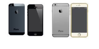 APPLE IPHONE 5 AND IPHONE 6 PLUS ANDROID VECTORS Royalty Free Stock Photos