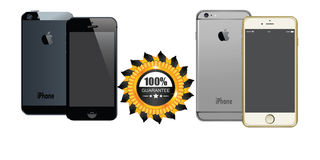 APPLE IPHONE 5 AND IPHONE 6 PLUS WITH GUARANTEE LABEL ANDROID VECTORS Stock Photo