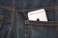 Apple iPhone6 in a jeans backpocket Royalty Free Stock Images