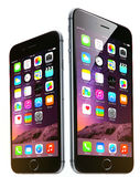 Apple iphone 6 och 6 plus Arkivbilder