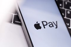 Apple iPhone with Apple Pay logo on the screen. Russia - October. Apple iPhone with Apple Pay logo on the screen royalty free stock image