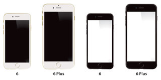 Apple iPhone 6 Plus. A front view of the Apple iPhone phone 6 and 6 Plus royalty free illustration