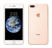 Apple iPhone 8 Plus Silver. Kyiv, Ukraine - January 24, 2018: Front and back view of Apple iPhone 8 Plus Gold  isolated on white background with clipping path Royalty Free Stock Photo