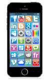 Apple iphone 5s black. With social icon on screen eps 10 Stock Illustration