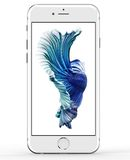 Apple iPhone 6s 2015. Cracow, Poland - November 19, 2015: Apple iPhone 6s silver 2015. Lying on the table, screen with fish, wallpaper from the website of Apple Royalty Free Stock Photography
