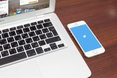Apple iPhone 5S with Twitter logo on screen Stock Photos