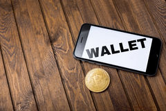 Apple iPhone 6s and word wallet on the screen Royalty Free Stock Photo