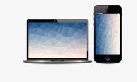Apple-iPhone 5 und realistischer Laptop-Vektor Lizenzfreie Stockbilder