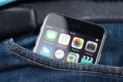Apple iPhone 6 With Various Apps On Screen In Pocket Royalty Free Stock Images