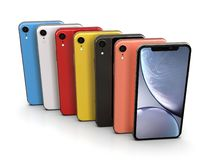 Apple iPhone XR all colours, vertical position, aligned stock illustration