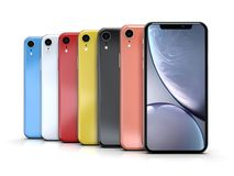 Apple iPhone XR all colours, vertical position, aligned royalty free illustration