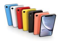 Apple iPhone XR alla färger, vertikal position som arrangera i rak linje royaltyfri illustrationer