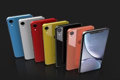 Apple-iPhone XR alle Farben, vertikale Position, in Folge