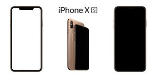 Apple iPhone XS Front View, Black and White Screen with Clipping Paths Royalty Free Stock Photos
