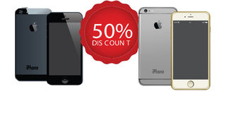 APPLE IPHONES WITH DISCOUNT OFFERS LABEL ANDROID VECTORS Royalty Free Stock Images