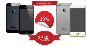 APPLE IPHONES WITH DISCOUNT OFFERS LABEL ANDROID VECTORS Royalty Free Stock Photo