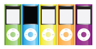 Apple ipod nano colection. The new iPod nano. Now rocking a video camera, a polished anodized aluminum finish, and a larger screen Stock Image