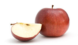 Apple and its peace. Isolated on white background stock images