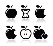 Apple, jabłczany sedno, gryźć, przyrodnie ikony, Obrazy Royalty Free
