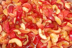 Apple jam. Cooking apple jam, apples in syrup Royalty Free Stock Image