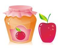 Apple jam. Jar of apple jam and fresh apple Stock Image
