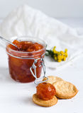 Apple jam with biscuits. Jam made from apples and biscuits Royalty Free Stock Image