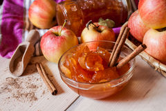 Apple jam with cinnamon Stock Photography