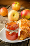 Apple jam and croissants Stock Photo