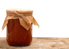Apple jam in a glass jar Stock Photography