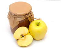 Apple jam in a glass jar Royalty Free Stock Image