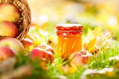 Apple jam in jar Royalty Free Stock Images