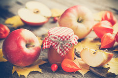Apple jam in jar and apple fruits. Autumn still life. Stock Photos