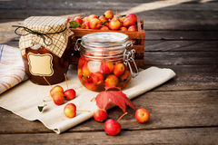 Apple jam in jar and apple fruits. Autumn still Stock Photo