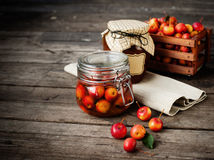 Apple jam in jar and apple fruits. Autumn still Stock Photography