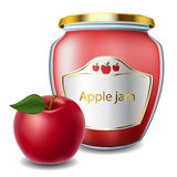 Apple jam with jar Stock Photo