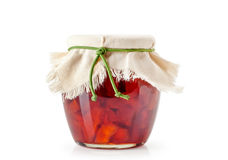 Apple jam in a jar on a white Royalty Free Stock Photo