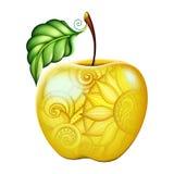Apple jaune coloré par vecteur avec le bel ornement floral Image libre de droits