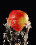 Apple in a jet of water. Royalty Free Stock Photo