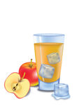 Apple Juice. Illustrated glass of apple juice on white background Stock Images