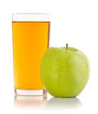 Apple and juice. Isolated on a white background Stock Images