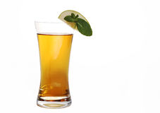 Apple juice. With slice of apple on side and white background stock images