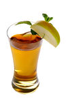 Apple juice. With slice of apple on side and white background Royalty Free Stock Image