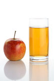 Apple juice. Glass of juice and apple Royalty Free Stock Images