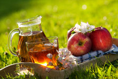 Apple juice. And apples on wooden table on fresh green backgroun royalty free stock photography