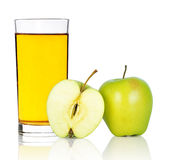 Apple  juice. Green apple with juice  on white background Royalty Free Stock Image