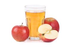 Apple juice. Glass of apple juice on white background Royalty Free Stock Photo