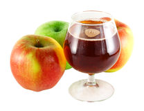 Apple juice with apples. Apple juice with three apples  isolated on white Stock Photos
