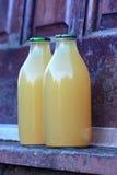 Apple Juice Bottles Stock Photo