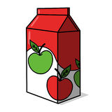 Apple Juice carton. Illustration; Apple Juice box drawing Royalty Free Stock Image