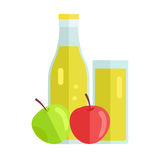 Apple Juice Concept Vector Illustration. Stock Images